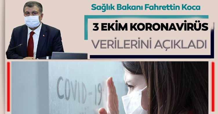 Son dakika haberi: Bakan Fahrettin Koca 3 Ekim koronavirüs hasta ve vefat sayılarını açıkladı! İşte, Türkiye'de corona virüs son durum tablosu