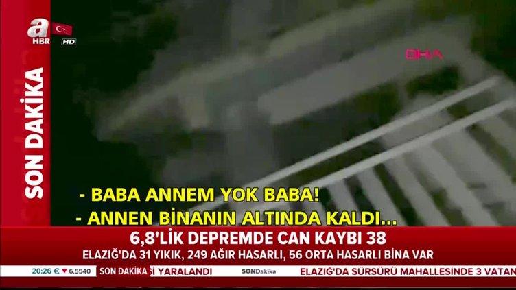"""Elazığ depreminde acı diyalog! """"Baba, annem yok baba!"""""""