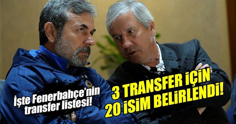Fenerbahçe'de 3 bölgeye 20 aday! Transfer...