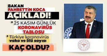 Bakan Koca SON DAKİKA açıkladı! 25 Kasım korona tablosu! Türkiye'de corona virüsü vaka ve ölü sayısı kaç oldu? Covid-19 İstanbul, Ankara, Bursa Sağlık Bakanlığı günlük son durum tablosu