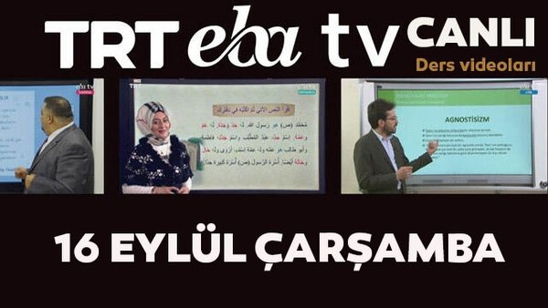 TRT EBA TV izle! (16 Eylül Çarşamba) Ortaokul, İlkokul, Lise dersleri 'Uzaktan Eğitim' canlı yayın... EBA TV ders programı | Video