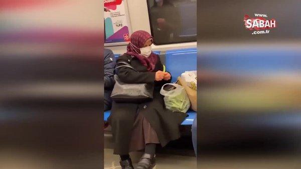 Metroda taze fasulye ayıklayan teyzenin görüntüleri sosyal medyada olay oldu