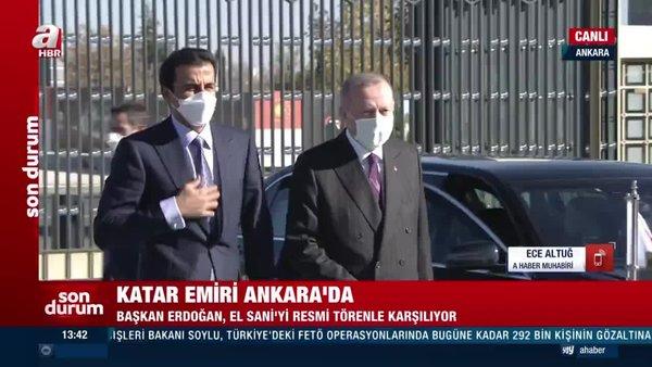 Son Dakika! Cumhurbaşkanı Erdoğan Katar Emiri El Sani'yi resmi törenle karşıladı   Video