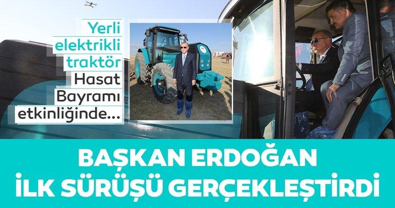 Erdoğan, yerli 'elektrikli traktör' deneme sürüşünü gerçekleştirdi