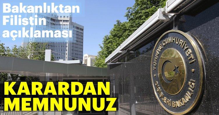 Türkiye, BM'nin Filistin kararını memnuniyetle karşıladı