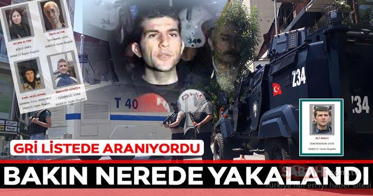 Gri listede aranan terörist dergi baskınında yakalandı