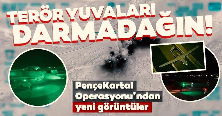 Son dakika: Terör hedefleri darmadağın! Pençe Kartal Operasyonu'ndan nefes kesen görüntüler geldi...