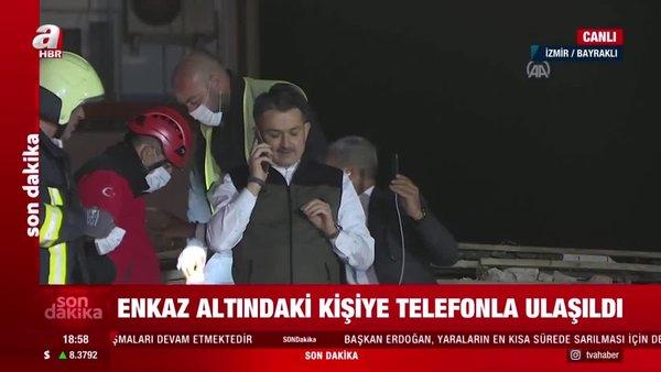 Bakan Pakdemirli, enkaz altındaki kişiyle telefonda konuştu | Video