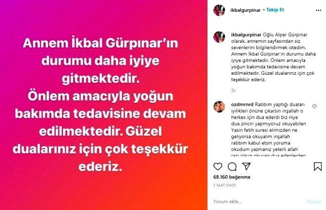 Son dakika: İkbal Gürpınar'ın sağlık durumu hakkında önemli açıklama! İkbal Gürpınar 3 gün önce o notu paylaşmış
