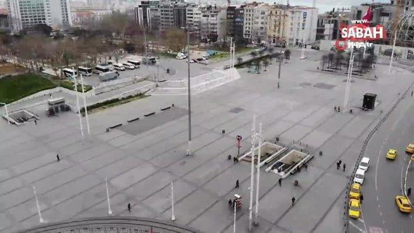 Corona virüsü salgını nedeniyle bomboş kalan Taksim ve İstiklal Caddesi havadan böyle görüntülendi | Video
