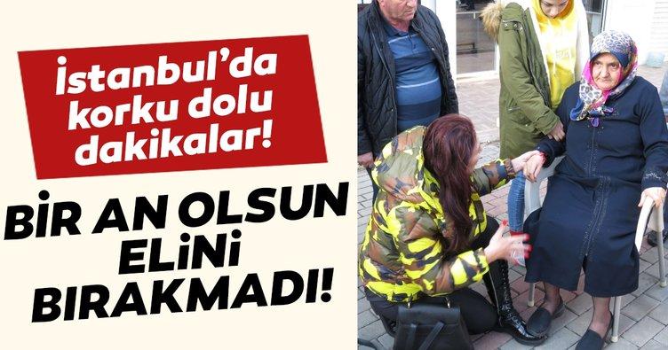 Beykoz'daki kazadan görüntüler... Yaralı kadının elini bir an olsun bırakmadı
