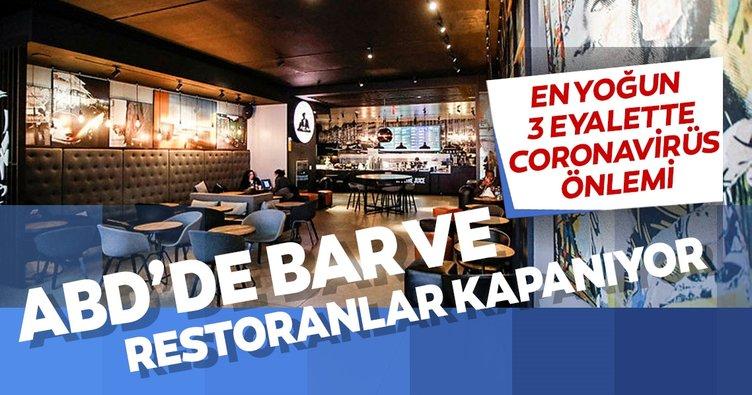 ABD'de Kovid-19 nedeniyle bir çok eyalette bar ve restoranlar kapatılıyor