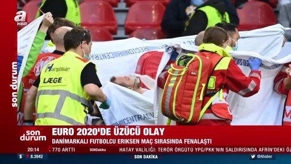 Yürekler ağza geldi! Eriksen bir anda yere yığıldı, sahada kalp masajı yapıldı   Video