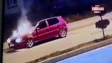 Bolu'da arıza yapan otomobilin yanma anları güvenlik kamerasında | Video