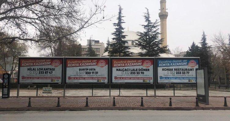 Konya'da reklam panoları esnafın hizmetinde!
