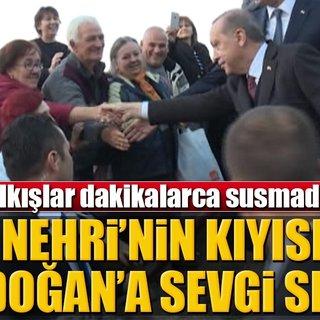 Tuna Nehri`nin kıyısında Erdoğan`a sevgi seli