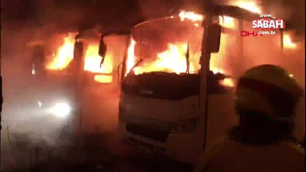 Bursa'da 2 otobüs, patlama sonrası alev alev böyle | Video
