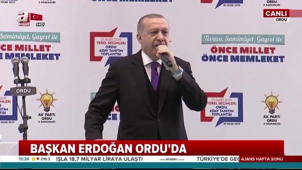 Cumhurbaşkanı Erdoğan Ordu'da aday tanıtım toplantısında açıklamalarda bulundu