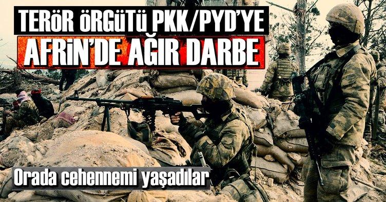 Terör örgütlerine Afrin'de çok ağır darbe