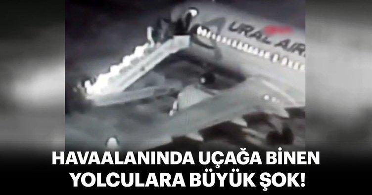 Uçağa binecekleri sırada, yolcu merdiveni kırıldı! O an kamerada...