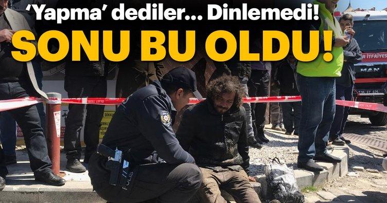 İzmir'de mazgala sıkışan kişi kurtarıldı