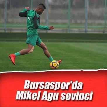 Bursaspor'da Mikel Agu sevinci