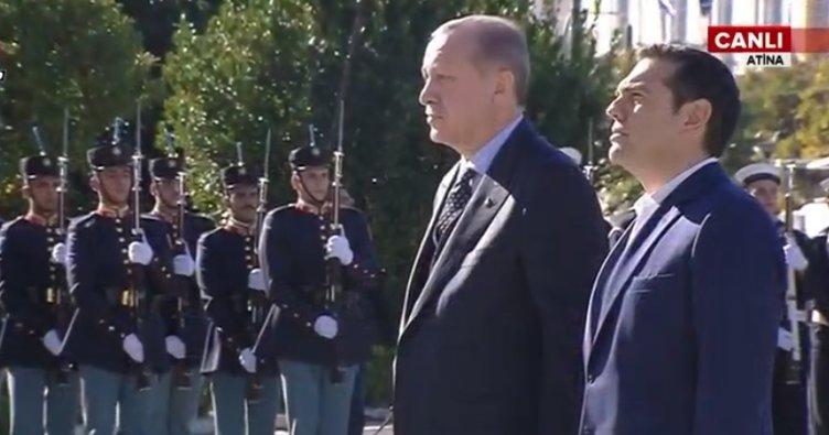Cumhurbaşkanı Erdoğan'a Atina'da resmi karşılama