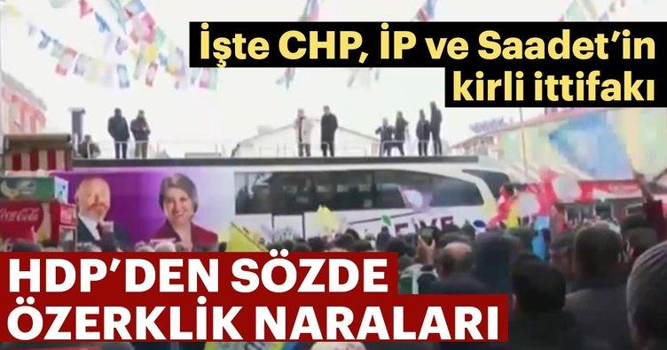 Kirli yüzleri deşifre oluyor! HDP seçim otobüsünden özerklik naraları attı