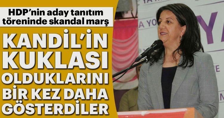 Kandil'in kuklası HDP'nin aday tanıtım töreninde skandal marş