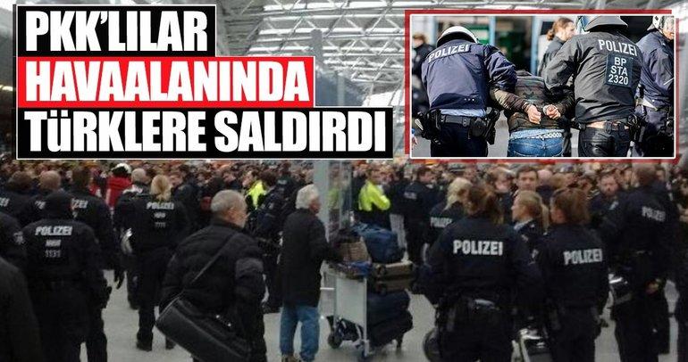 PKK/YPG yandaşları Düsseldorf Havalimanı'nda olay çıkardı