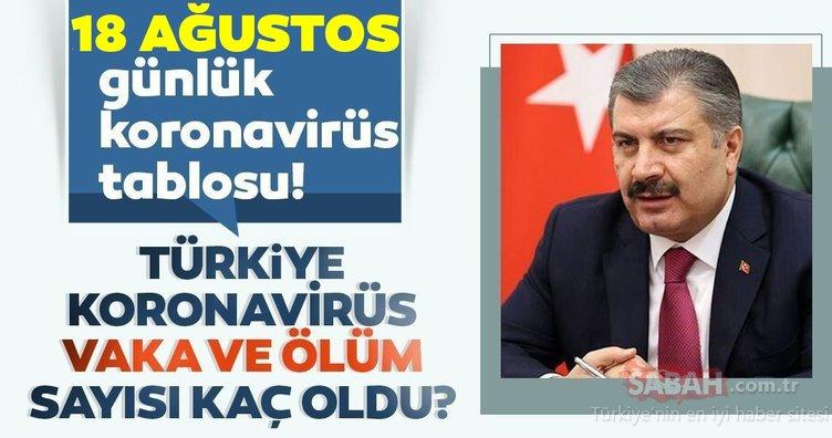 SON DAKİKA! Türkiye'de corona virüs ölü ve vaka sayısı kaç oldu? 18 Ağustos Salı Türkiye corona virüsü günlük son durum tablosu