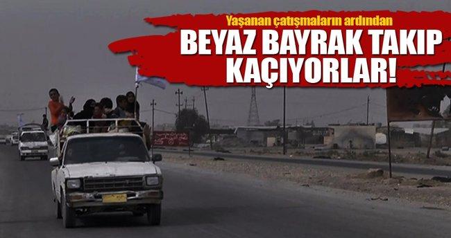 Çatışma ortasında kalan siviller kaçıyor