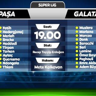 Kasımpaşa - Galatasaray maçının ilk 11'leri belli oldu