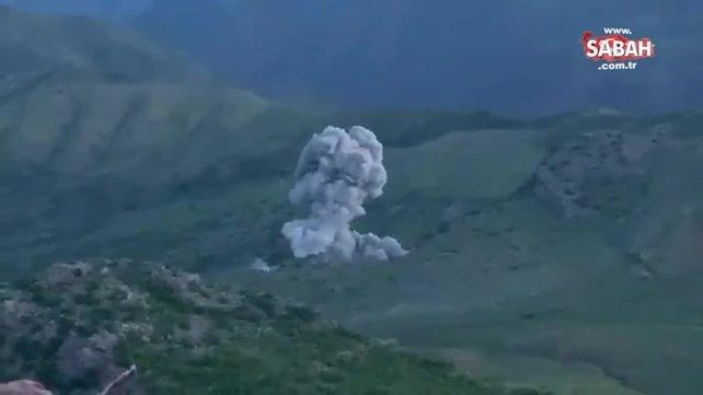 MSB görüntüleri paylaştı! Irak'ın kuzeyindeki operasyonda teröristlerin mevzileri yerle bir edildi | Video