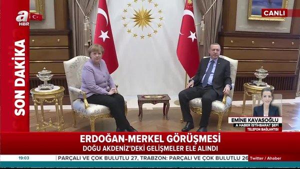 Son dakika! Başkan Erdoğan, Merkel ile görüştü | Video