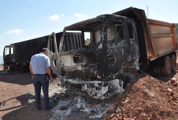 Şantiye basan teröristler araçları ateşe verdi