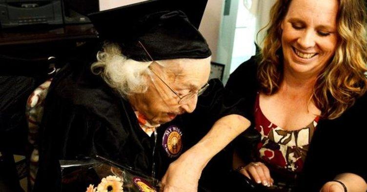105 yaşında lise diplomasına kavuştu
