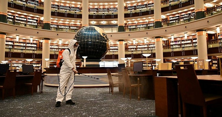 Cumhurbaşkanlığı Millet Kütüphanesi, corona virüse karşı dezenfekte edildi