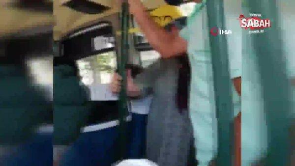 Dolmuşta 'maske kavgası' kamerada | Video
