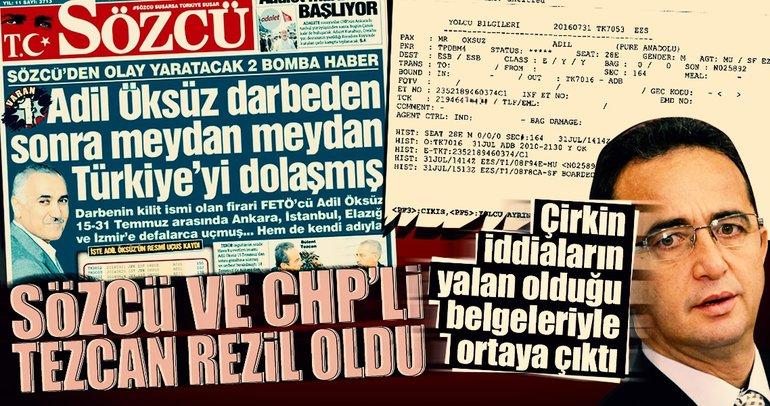 Sözcü ve CHP'li Tezcan'ın Adil Öksüz yalanını SABAH belgeledi