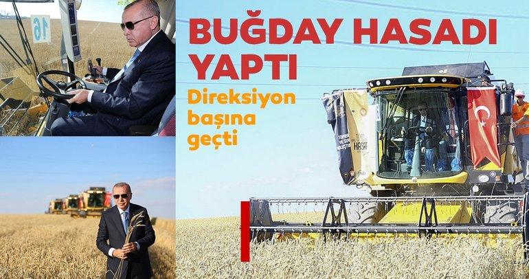 Başkan Erdoğan buğday hasatı yaptı