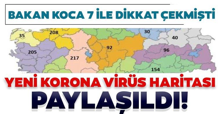 Türkiye'nin yeni korona virüs vaka haritası