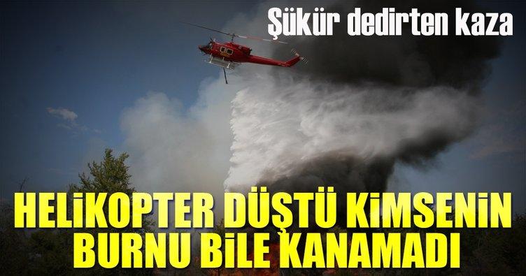 Helikopter düştü tüm ekip kurtuldu