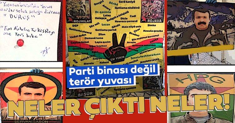 Son dakika: HDP'ye terör operasyonu! Parti binasından teröristbaşının posterleri çıktı