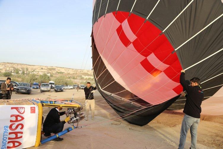 Yerli üretim sıcak hava balonu Kapadokya semalarında
