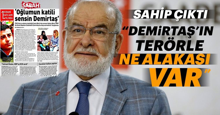 Temel Karamollaoğlu, Selahattin Demirtaş'a sahip çıktı