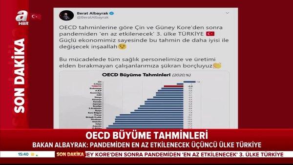 Son dakika haberi: Hazine ve Maliye Bakanı Berat Albayrak verilerle paylaştı: Pandemiden en az etkilenecek 3. ülke Türkiye!