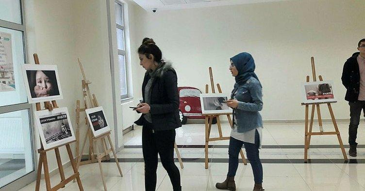 Bayburt'ta 'Çocuk İstismarına Hayır' resim sergisi