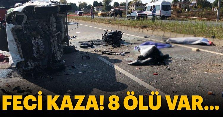 Hafif ticari araç motosikletli gruba çarptı: 8 ölü