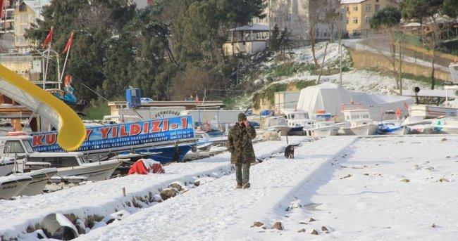 Beyaza bürünen Sinop'tan kartpostallık görüntüler